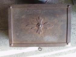 RITKA ! Antik vas páncél kazetta kovácsoltvas zsold láda