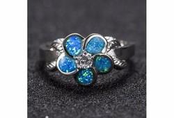 Virág alakú, kék tűzopál gyűrű 8-as ÚJ!