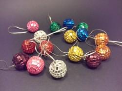 Retro karácsonyfadísz DISCO gömb 16 db csillogó színes