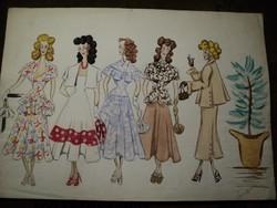 Ritka 1940 es évek divattervező munkája 2.