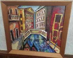 Vén Emil festmény 38,5 cm X 34,5 cm olaj, farost Velence