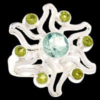 Egyedi kézműves  925 ezüst gyűrű kék topáz zöld peridot