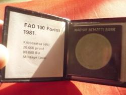 FAO 100 forintos érme 1981.