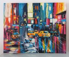 A város -modern akril festmény 40x50 cm New York pink-sárga-kék