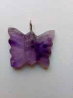 Ametiszt medál-pillangó formára csiszolva-1,7 x 2 x 0,3 cm