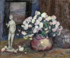 Kunwald Cézár : Csendélet porcelánszoborral 1934
