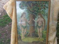 Ádám és Éva bűnbeesés /litográfia/