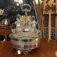 Impozáns Empire Ezüst Olaj-Ecet tartó,  5 db eredeti üvegpalackal - KARÁCSONYRA -