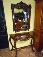 Nagyon szép barokk konzol tükörrel