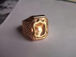 Címerpajzsos férfi aranygyűrű átm.22 mm 14 k-os, fémjel