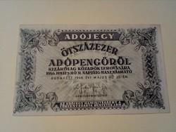 1946-os 500000 Adópengő aUNC Elcsúszott nyomat