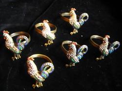 Antik szalvéta tartók  ,bronzból .gyöngyökkel kirakva