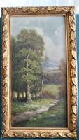 Eredeti !!! Franz Josef Georg Illem (1865-1912) erdő részlet olaj festmény !