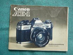 CANON AE 1 fényképezőgéphez EREDETI útmutató könyv