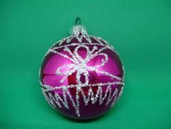 Régi,retró  ritka rózsaszín festett üveg karácsonyfadísz gömb