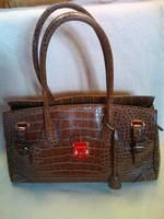Klasszikus vintage David Jones krokó karamell színű női ridikül,táska