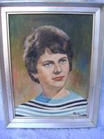 Női portré olajfestmény szignózott