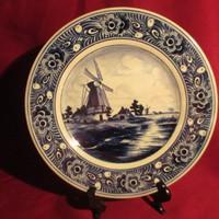 1888 Régi kézzel festett jelzett Delft porcelán falitányér   20  cm