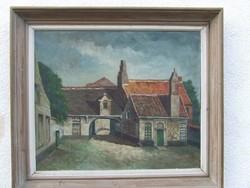 Falusi házak vásznon nagy