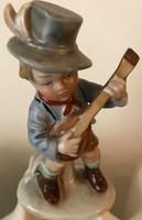 Bertram porcelán figura, mandolinozó kis fiú