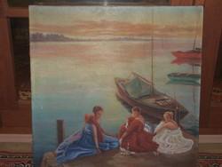 Napfürdőzés /romantikus olaj-vászon festmény/