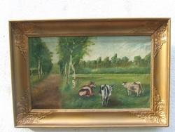 Legelésző tehenek vásznon