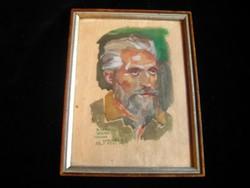 Antik  markáns férfi portré ,akvarell 1945 ből , 135x180 mm + keret