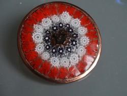 """Muránói """"millefiori"""" kitűző bronz peremmel, 4,2 cm átmérő"""