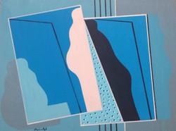 Deim Pál - Kék lapok 30 x 40 cm akril, vásznazott lemez