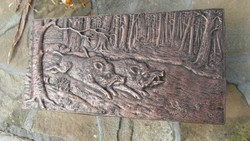 Vaddisznós, erdei életkép, falikép
