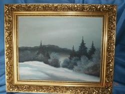 Téli táj, olaj-vászon festmény