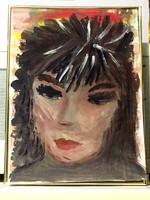 Fiatal nő portréja, eredeti akvarellfestmény papíron, szignózott egyetlen példány üvegezett keretben