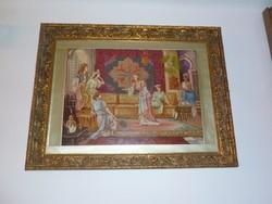 Hárem c. csodálatos Tipoen tűgobelin értékes aranyozott keretben, 101x78 cm