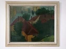 Kántor Lajos képcsarnokos festménye Házak 50 x 60 farost Munkácsy dijas