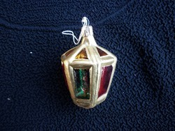 Vintage kézzel festett üveg lámpás karácsonyfadísz