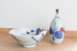 Japán népi művészi kerámia tál és palack