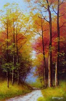 Őszi fasor aprólékosan kidolgozott olajfestmény