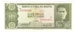 10 pesos bolivianos 1962 Bolivia UNC