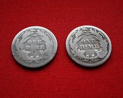 USA ezüst dime 1876-1887.