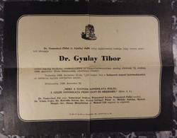 Gyászjelentés - Dr. Gyulay Tibor - Békéscsaba - 1960