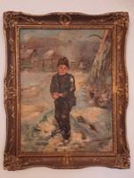 Ivanácz Zsolt József: Hógolyózó fiú értékes, nagyméretű blondel keretben
