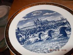 PRÁGA csodás 24 cm es  tányér bohémia