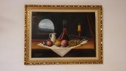 Vrabély Alfréd Kiskancsós olaj csendélet - 70x50cm festmény - szép keretben
