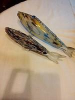 Cseh üveg hal párban, hibátlan 26 és 32 cm