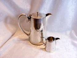 Álomszép, Ezüstözött Sheffield, art deko teás kanna tejszínes kiöntővel, igény szerint cukortartóval