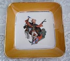 Antik Walbrzych porcelán lengyel népi táncos (zbójnicki) fali dísz tál