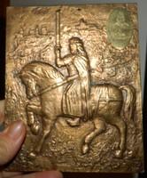 Szent István bronz v. réz lovasszobra - szignózott JJ falikép