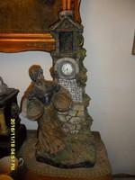 Francia szecessziós terrakotta szobor  órával
