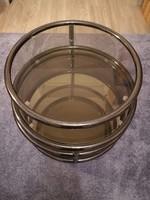 Mid century design csővázas kör üveg, tükör asztal