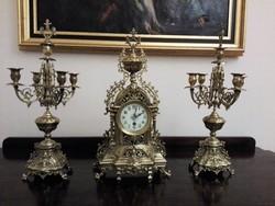 Historikus réz kandalló óra szett